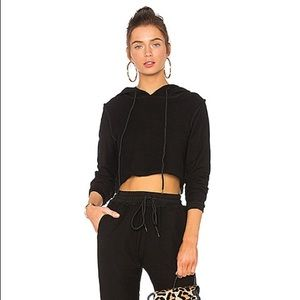 NWOT-Guizio Cropped Hoodie Black Small Inside Out